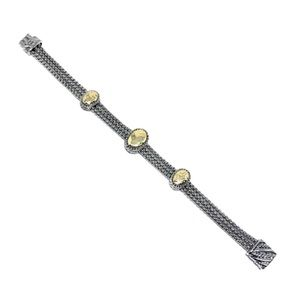 Jewelry - Rhodium Gold Plated Oval Gold Bars Bracelet